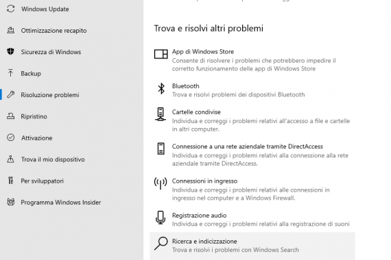 Casella di ricerca di Windows non funziona. Come risolvere.