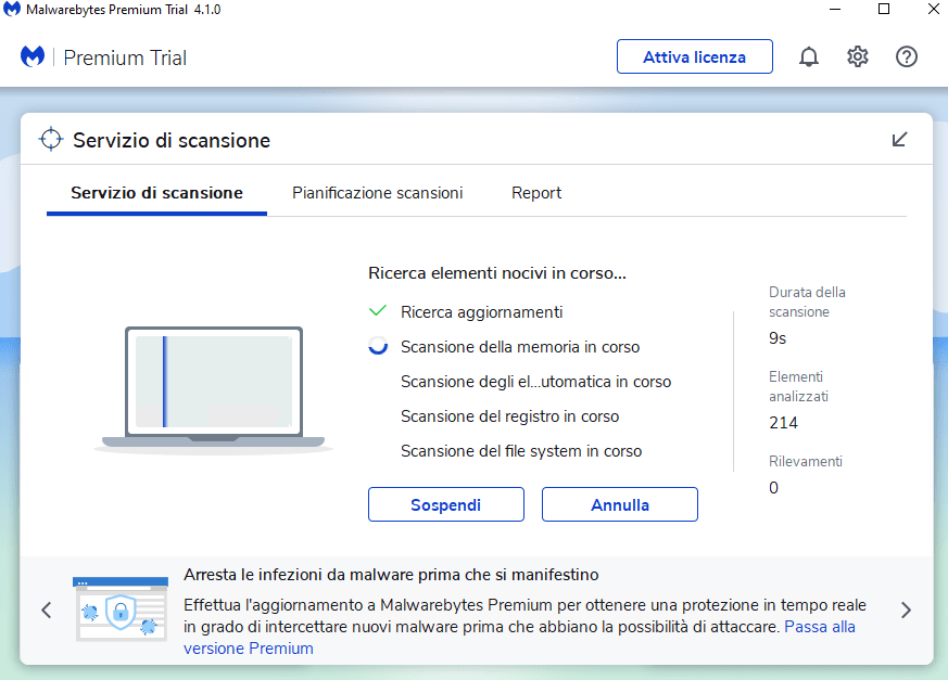 scansione con Malwarebytes