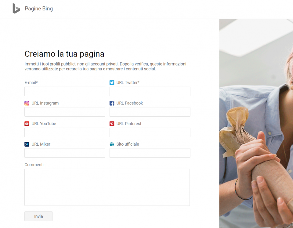 Creazione pagina Bing