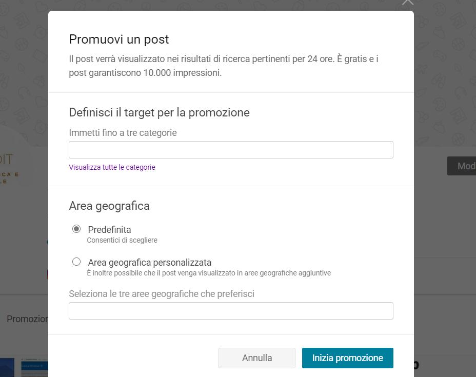 Creare una promozione su Pagine Bing