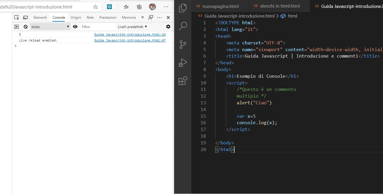 Esempio di come si inserisce un istruzione JavaScript in una pagina HTML.