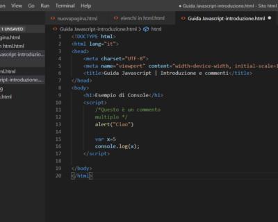 Guida JavaScript: Introduzione e commenti