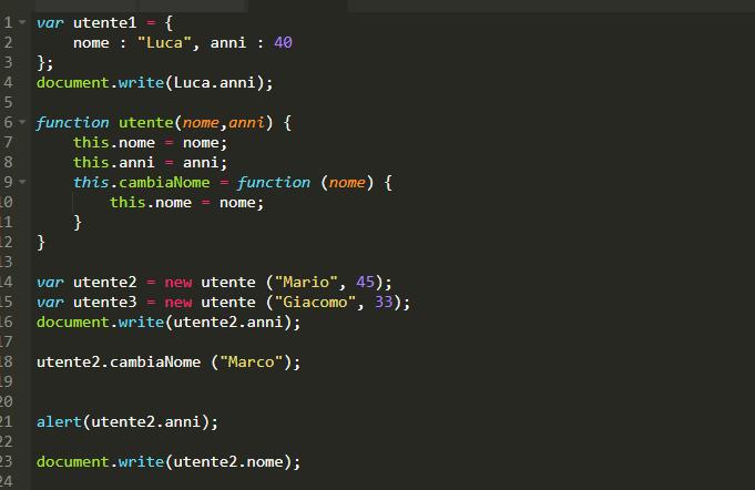Esempio di oggetti JavaScript