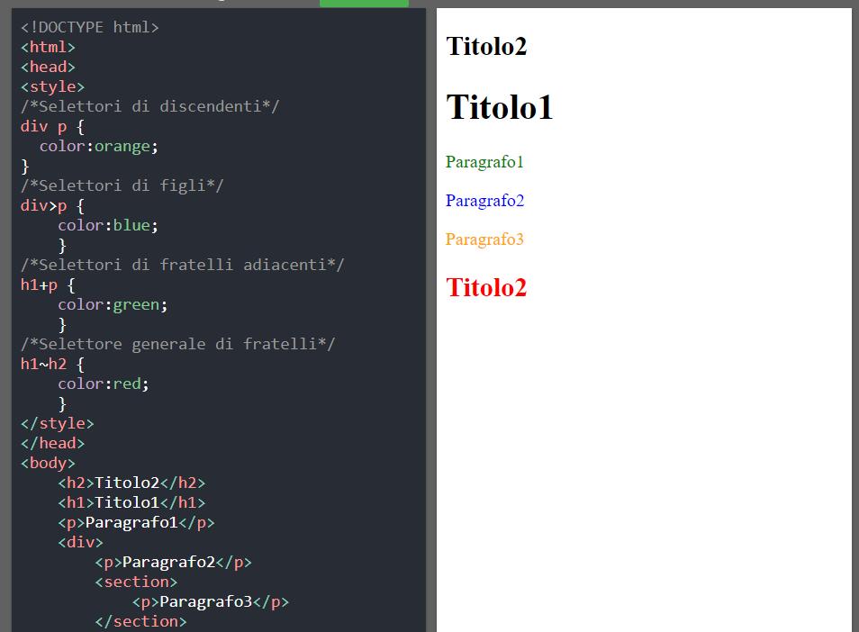 Esempio di selettori CSS