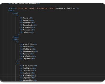 Creare una tabella in una pagina HTML