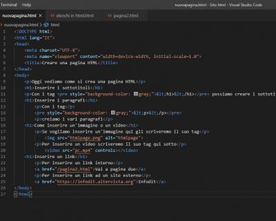 Come aggiungere contenuti multimediali e link in una pagina HTML