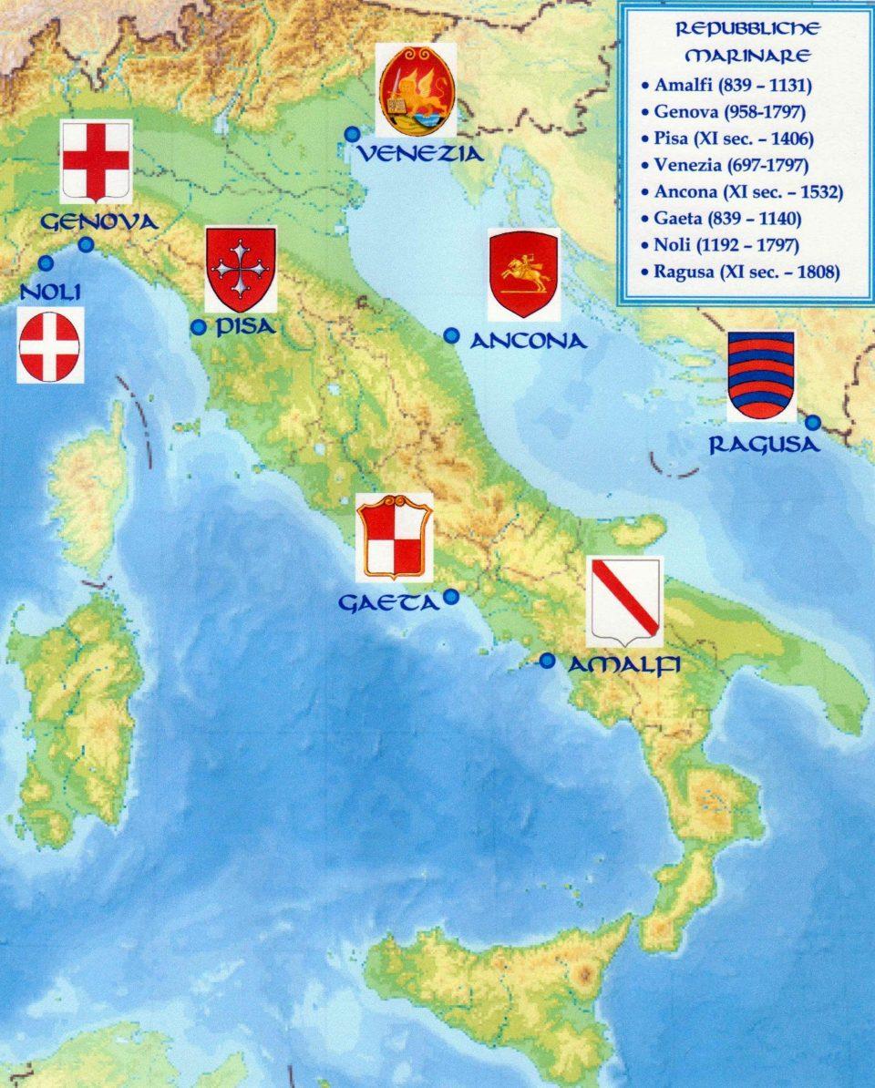 Elenco delle repubbliche marinare. Le 4 più importanti sono Amalfi, Venezia, Genova e Pisa