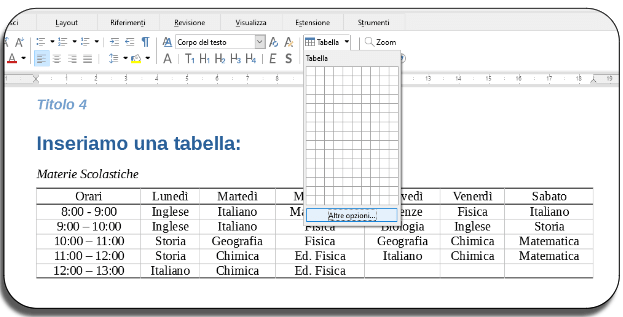 Tabelle libreoffice