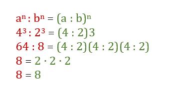 Divisione potenze con lo stesso esponente | Divisione potenze con esponente uguale