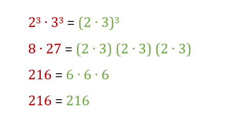 Prodotto (moltiplicazione) di potenze con lo stesso esponente