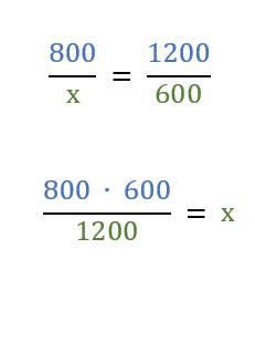 Proporzione frazioni, con incognita x al denominatore.