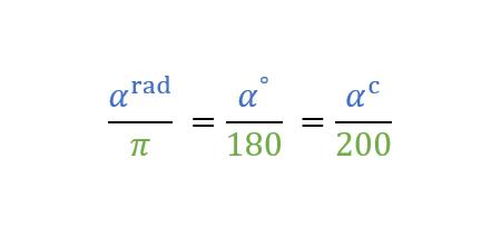 conversione misura angoli, formula