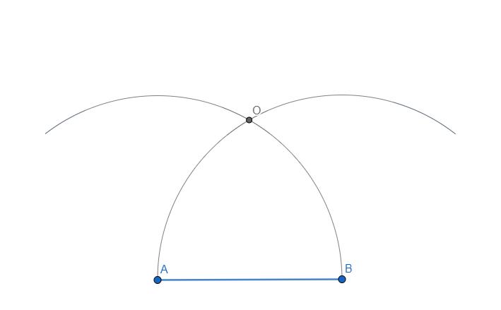 Dato il lato costruiamo il nostro esagono. Tracciamo due archi per trovare il centro della circonferenza in cui si trova.