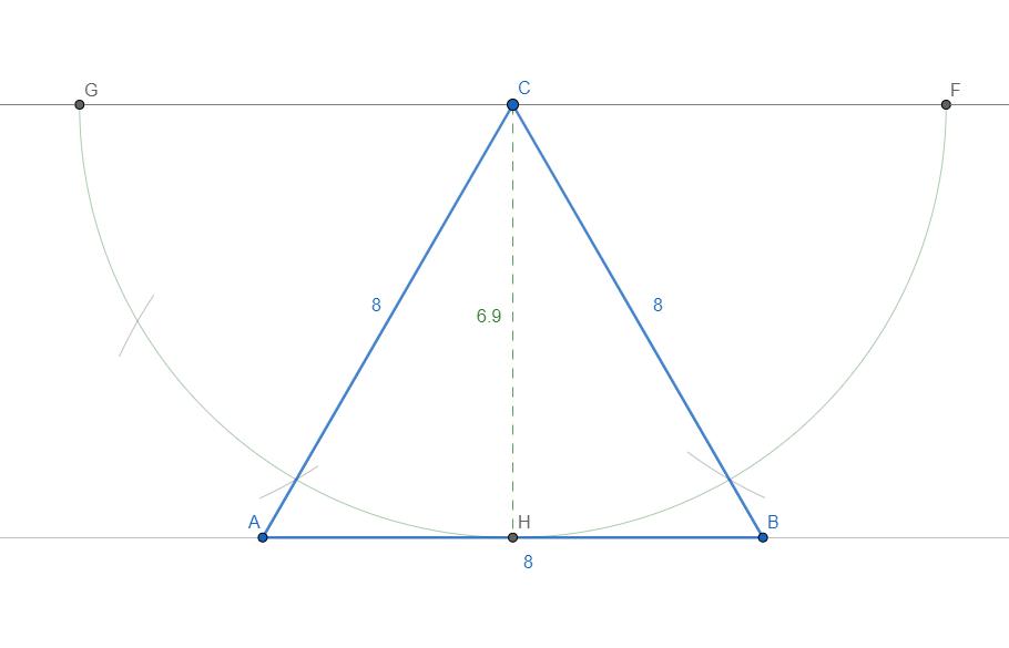 Costruzione (come costruire) triangolo equilatero data l'altezza