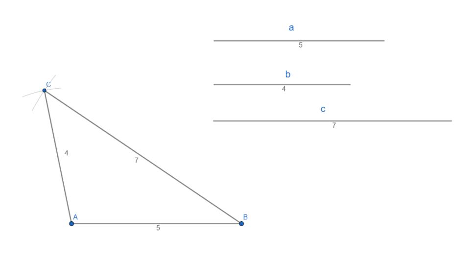 Costruzione (disegno) triangolo scaleno dati i lati.