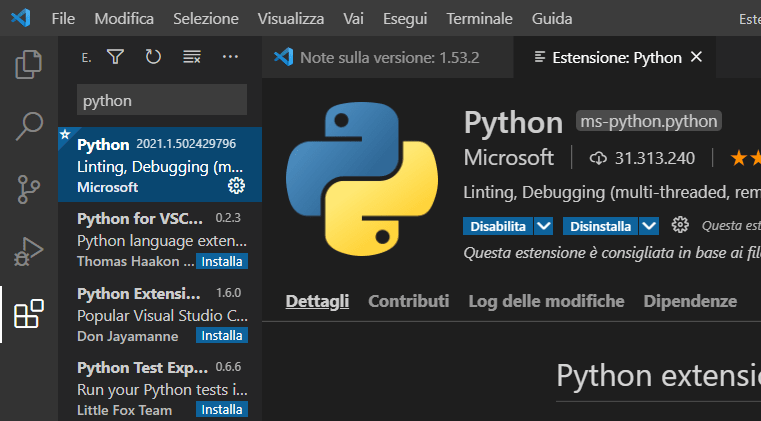 Estensione python su visual studio code