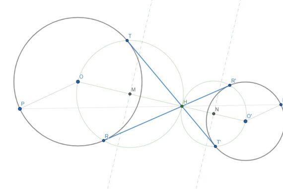 Le tangenti interne comuni a due circonferenze