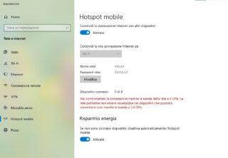 impostare hotspot mobile