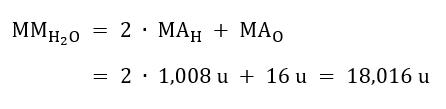 Massa molecolare acqua (H2O)