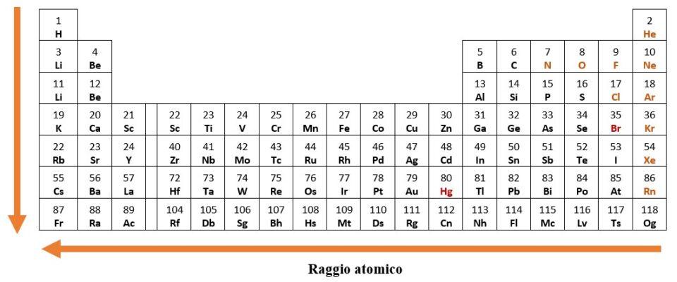 raggio atomico nella tavola periodica